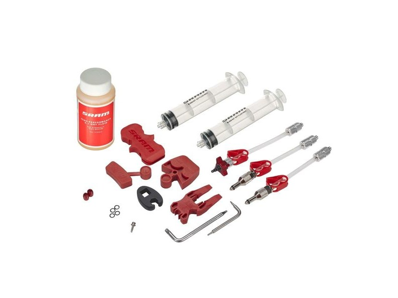SRAM Avid - Standard Brake Bleed Kit (Includes 2 Syringes/Fittings Bleed Blocks Torx Tool Crow's Foot Bleeding Edge Fitting Dot 5.1 Hydraulic Fluid) - Fits All Avid Guide Hydror Models click to zoom image