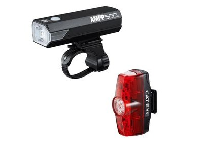 Cateye Ampp 500 & Rapid Mini Front & Rear Light Set: Black