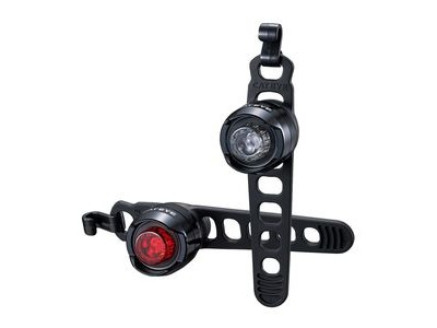 Cateye Orb Rechargeable Front & Rear Light Set: Polished Black
